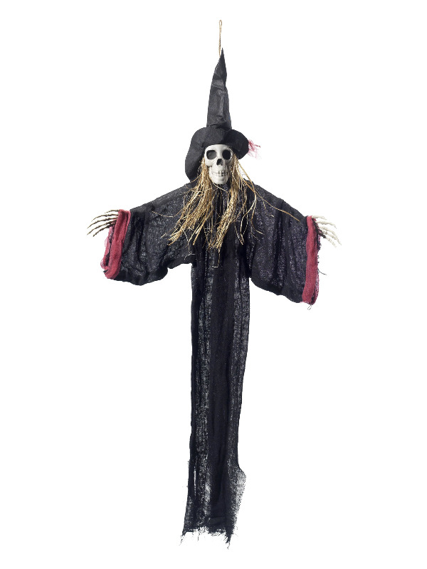 Hanging Witch Skeleton Decoration, Black, with Hat, Robe & Straw Hair, 70x90cm / 28x35in