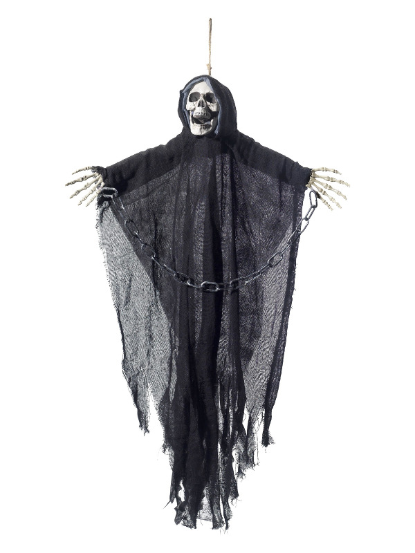 Hanging Reaper Skeleton Decoration, Black, with Cape & Chains, 70x90cm / 28inchx35inch