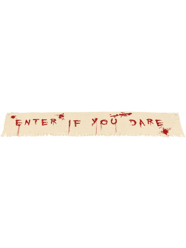Enter If You Dare Bloody Banner Decoration, Natural & Red, Cloth, 180x35cm / 71inchx14inch