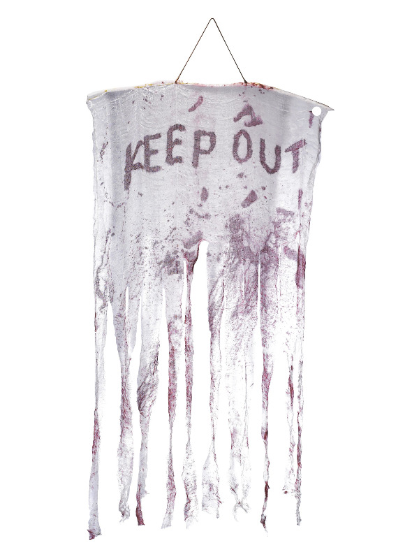 Keep Out Bloody Hanging Decoration, White & Red, 90x150cm / 35x59in