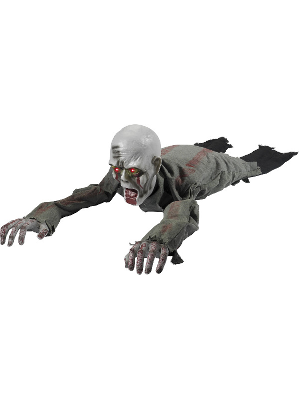 Animated Crawling Zombie Prop, Grey, with Sound, Moving Arms & Light Up Eyes,110x30x30cm/43x12x12in