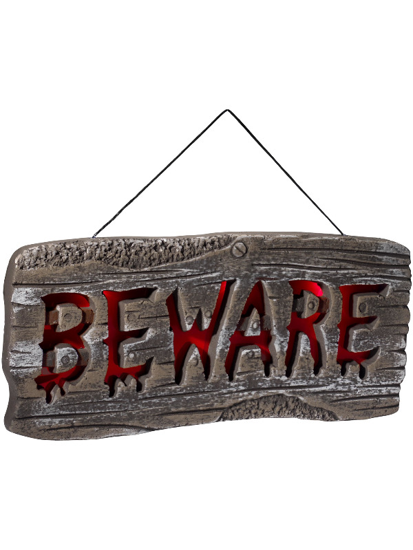 Light Up Hanging Beware Sign, Grey & Red, Batteries Included, 49x21.5cm / 19x8in