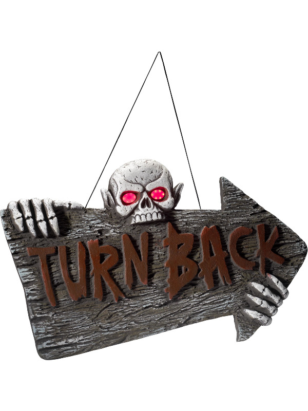Light Up Turn Back Hanging Sign, Red & Grey, Battery Operated, 74x44cm / 29x17in