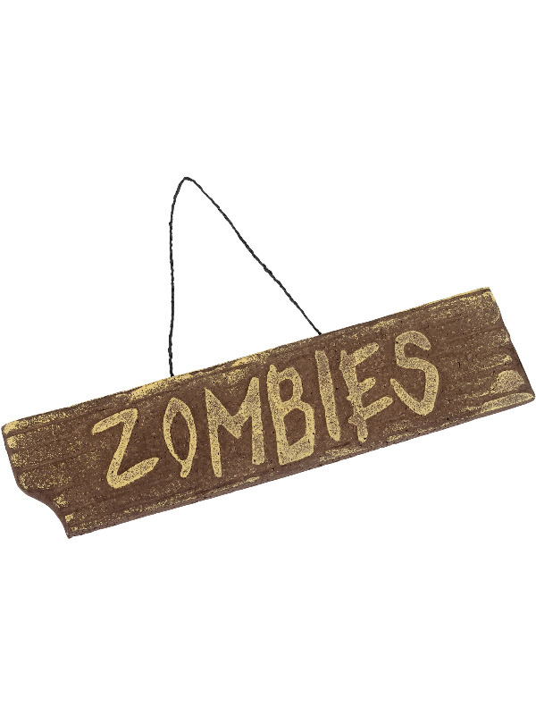 Hanging Zombies Sign, Brown, Driftwood Effect, 40x10cm / 16x4in