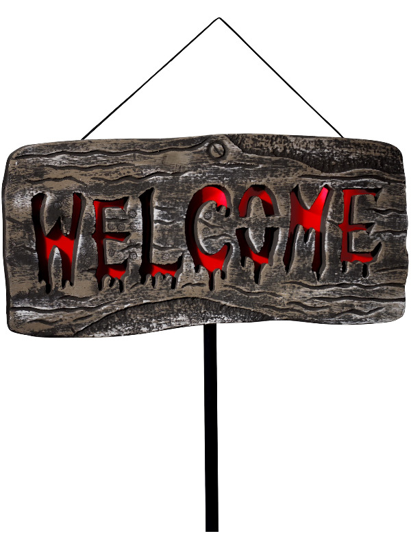 Light Up Welcome Outdoor Sign, Grey & Red, Batteries Included, 25x50cm / 10x20in