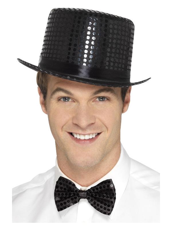 Sequin Top Hat, Black, with Elastic Inner Rim