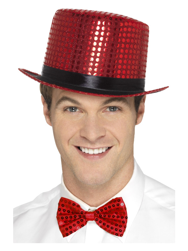 Sequin Top Hat, Red, with Elastic Inner Rim