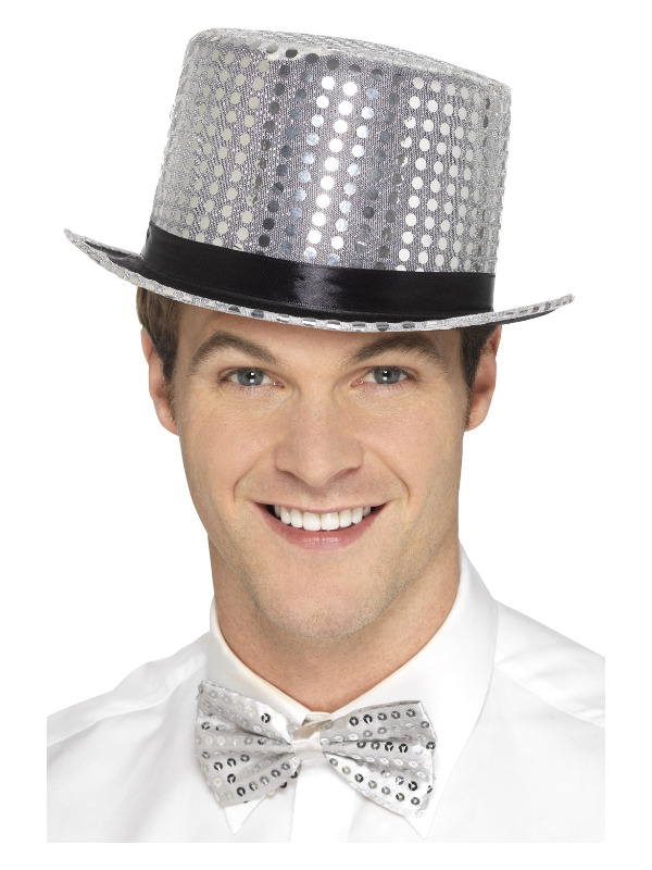 Sequin Top Hat, Silver, with Elastic Inner Rim