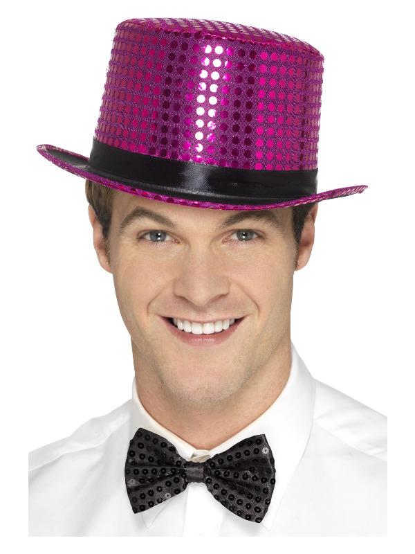 Sequin Top Hat, Pink, with Elastic Inner Rim