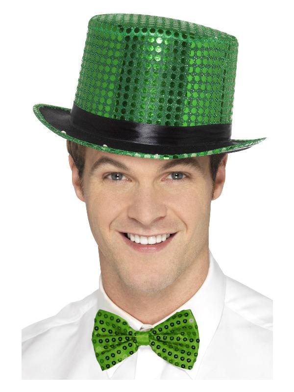 Sequin Top Hat, Green, with Elastic Inner Rim