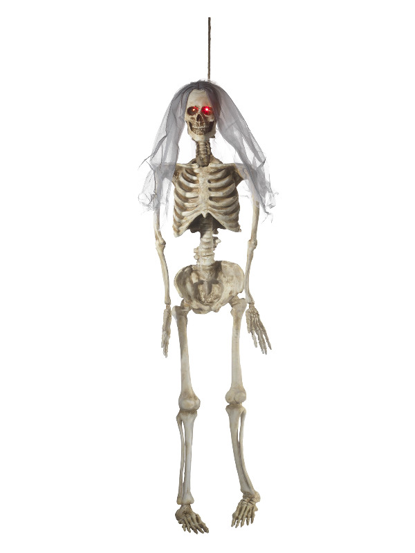 Light Up Latex Hanging Bride Skeleton Decoration, Natural, Battery Operated, 170cm / 67in