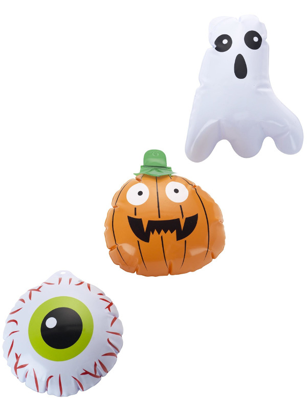 Mini Halloween Inflatables, Set of 3, Multi-Coloured, Assorted Designs, Ghost, Pumpkin & Eyeball,15cm/6in