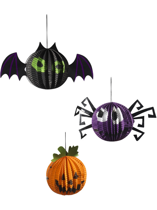 Hanging Halloween Paper Decorations, Set of 3, Multi-Coloured, Assorted Designs, with Bat, Spider & Pumpkin
