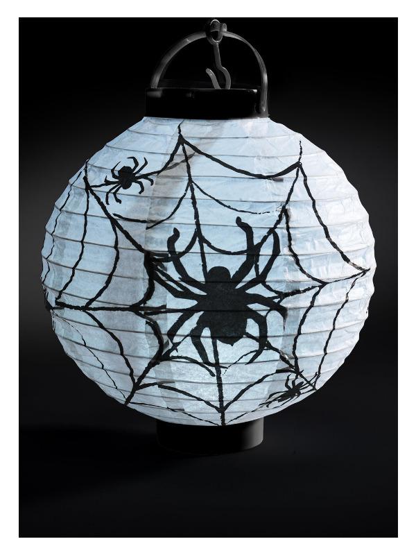 Light Up LED Paper Spider Web Lantern, Black & White, 20x7x22cm / 8x3x9in