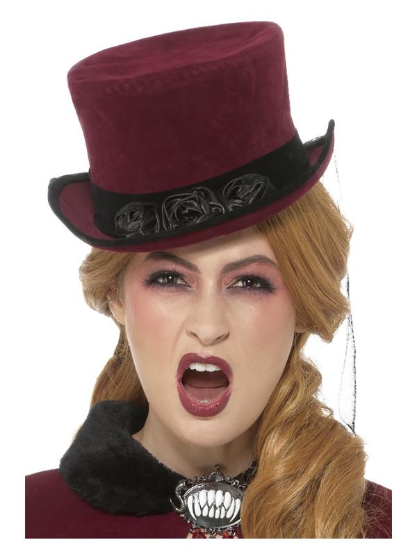 Deluxe Victorian Vampiress Hat, Burgundy, with Veil