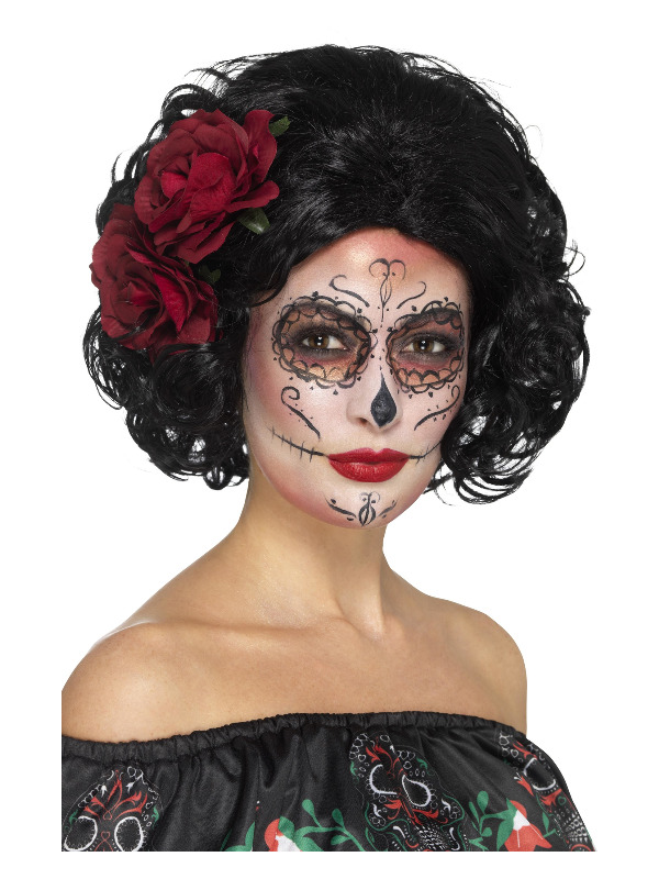 Deluxe Day of the Dead Doll Wig, Black, with Roses