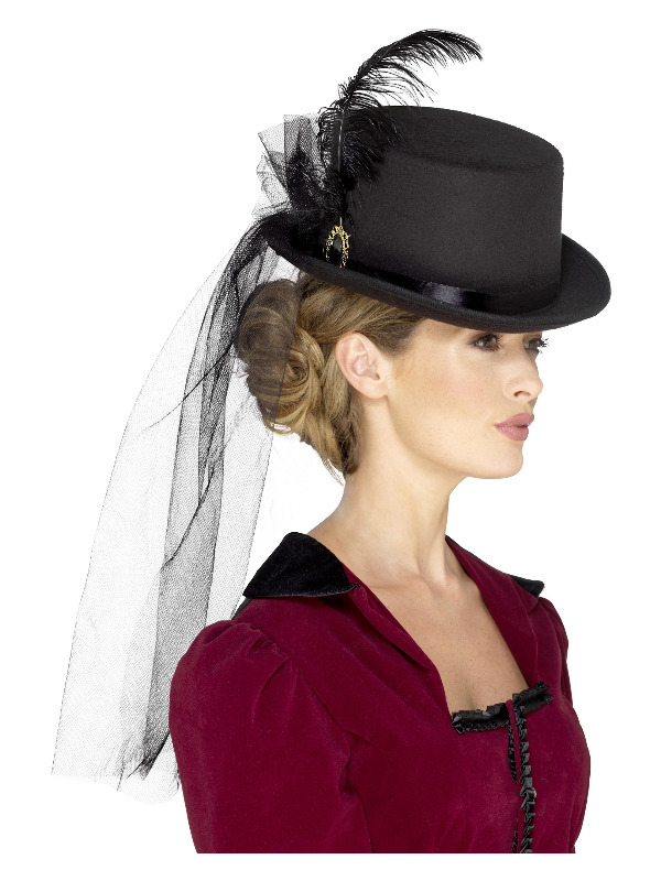 Deluxe Ladies Victorian Top Hat, Black, with Elastic Inner Rim, Attached Veil, Feathers & Brooch