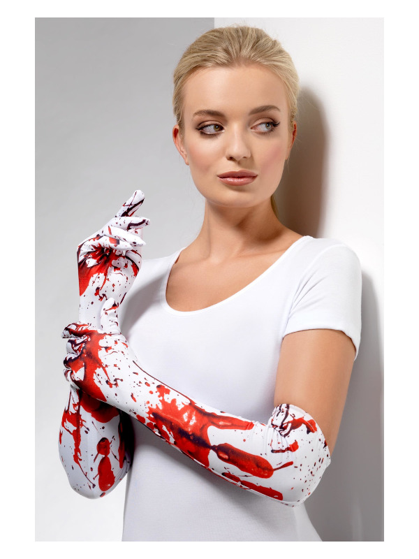 Blood Splatter Gloves, White & Red, Long