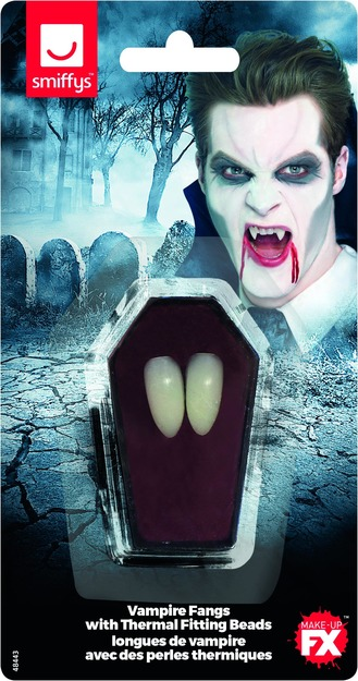 Smiffys Make-Up FX, Vampire Fangs, White, with Thermal Fitting Beads