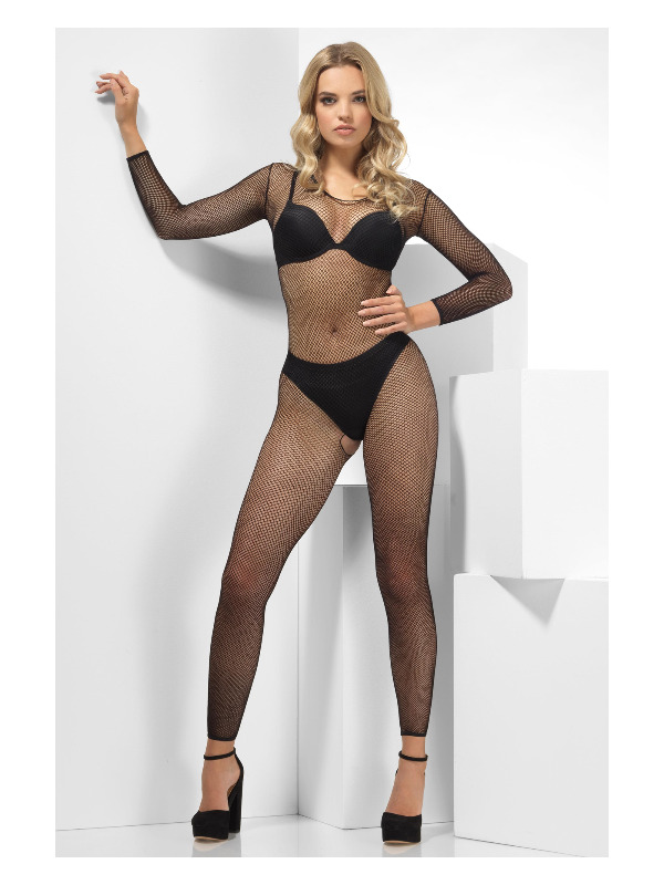 Fishnet Footless Jumpsuit, Black, Long Sleeve, Crotchless