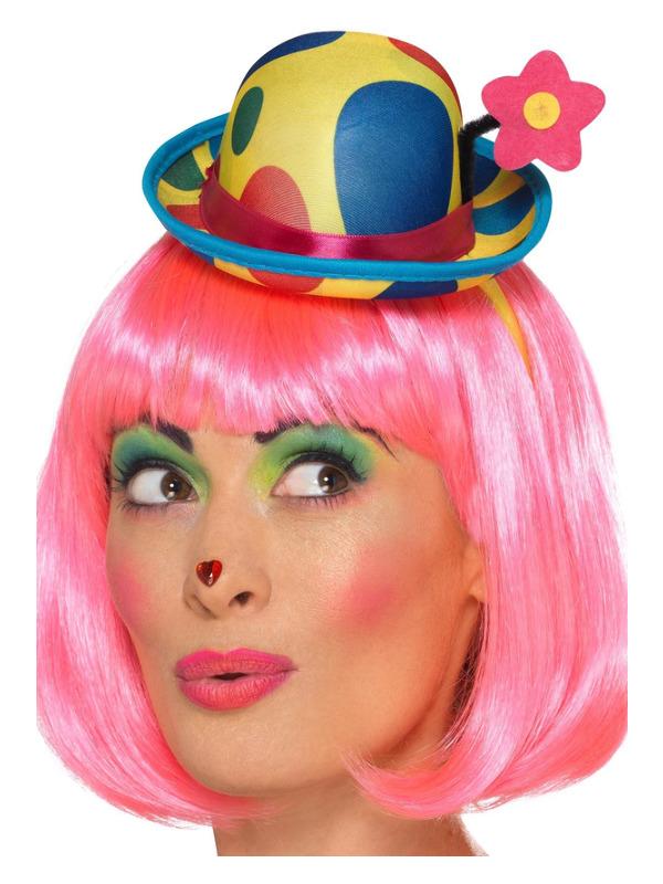 Clown Mini Hat Headband, Multi-Coloured, Adult