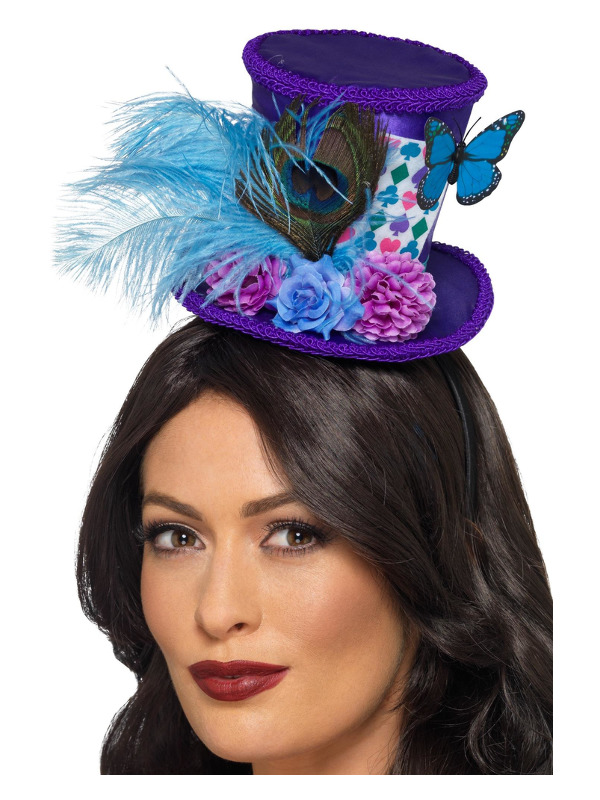 Mad Hatter Mini Feather Hat, Purple, on Headband