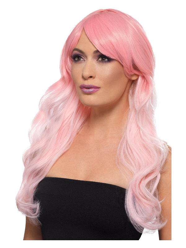 Fashion Ombre Wig, Wavy, Long, Pink, Heat Resistant/ Styleable