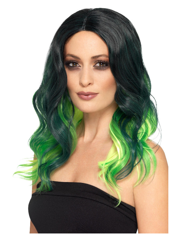 Deluxe Ombre Wig, Green, Heat Resistant/ Styleable