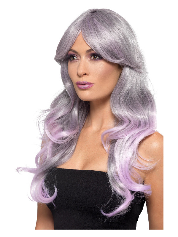 Fashion Ombre Wig, Wavy, Long, Grey & Pastel Pink, Heat Resistant/ Styleable
