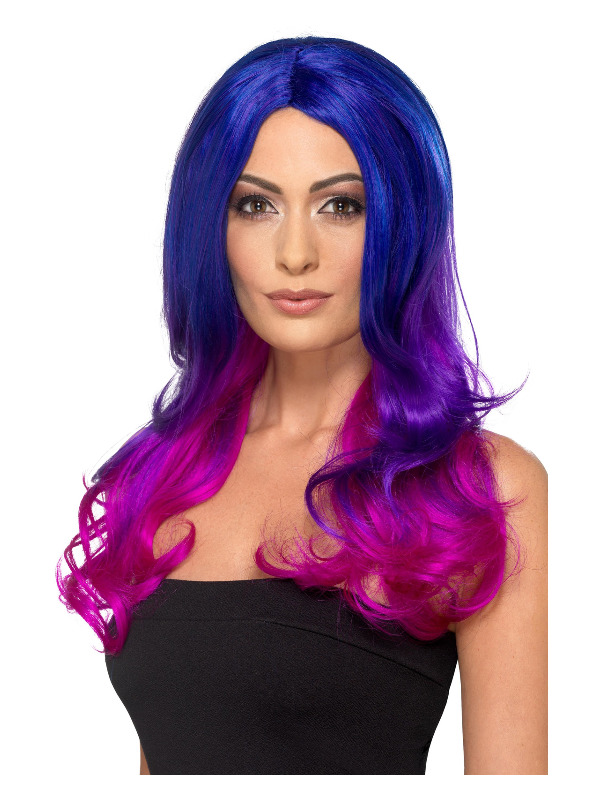 Fashion Ombre Wig, Wavy, Long, Blue & Pink, Heat Resistant/ Styleable