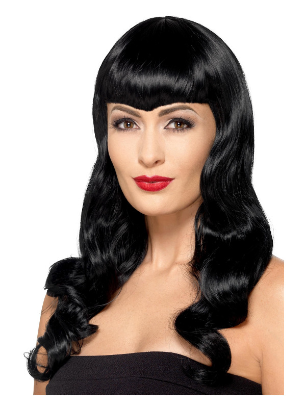 Deluxe Wavy Wig, With Shaped Fringe, Black, Heat Resistant/ Styleable