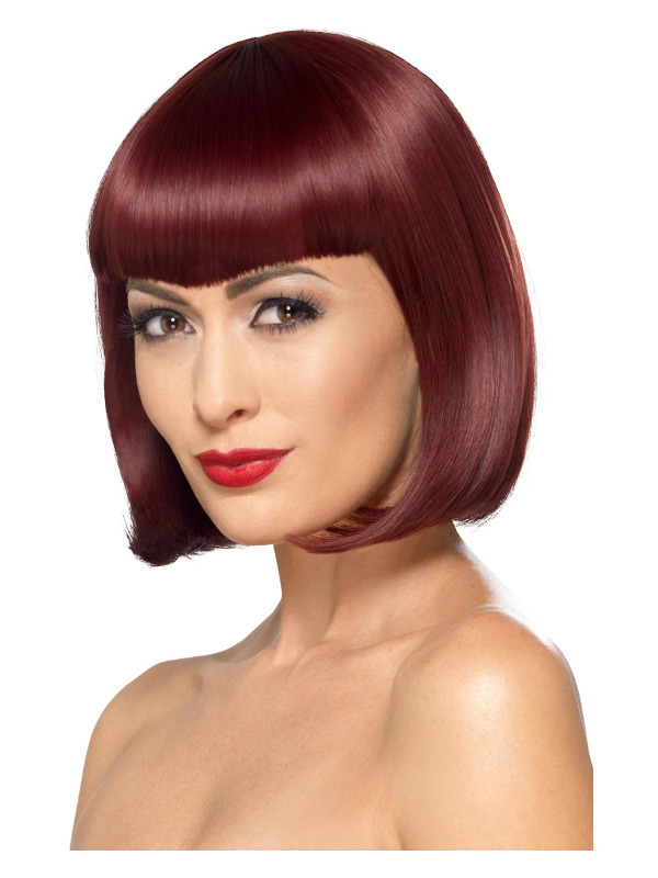 Deluxe Bob Wig With Shaped Fringe, Cherry, Heat Resistant/ Styleable