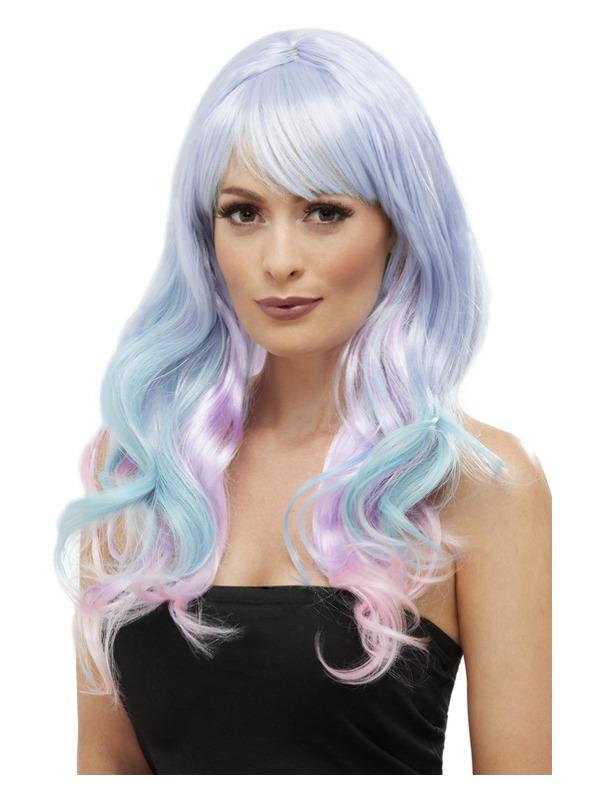 Fashion Unicorn Pastel Wig, Wavy, Long, Multi-Coloured, Heat Resistant/ Styleable