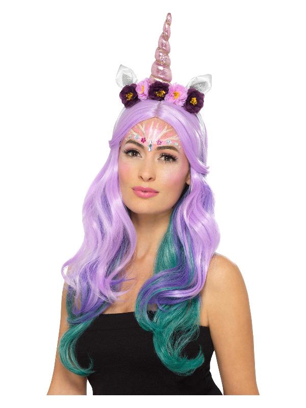 Smiffys Make-Up FX, Unicorn Kit, Aqua, Multi-Coloured, Face Paints, Glitter, Shimmer, Gems & Applicators