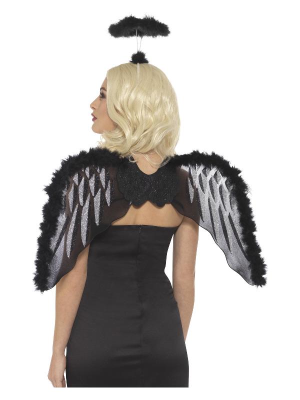 Fallen Angel Set, Black, with Glitter Wings & Marabou Halo, 70x45cm/28x18in