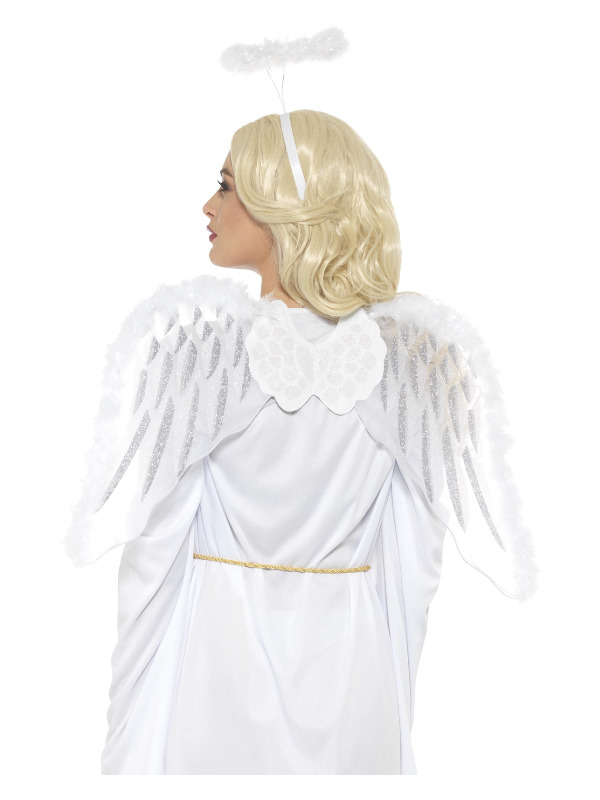 Pure Angel Set, White, with Glitter Wings & Marabou Halo, 70x45cm / 28x18in