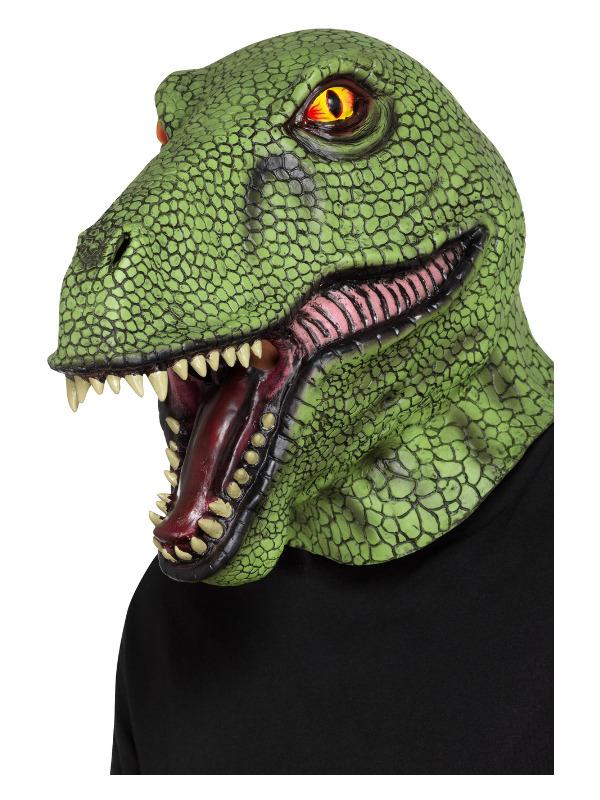 Dinosaur Latex Mask, Green, Full Overhead