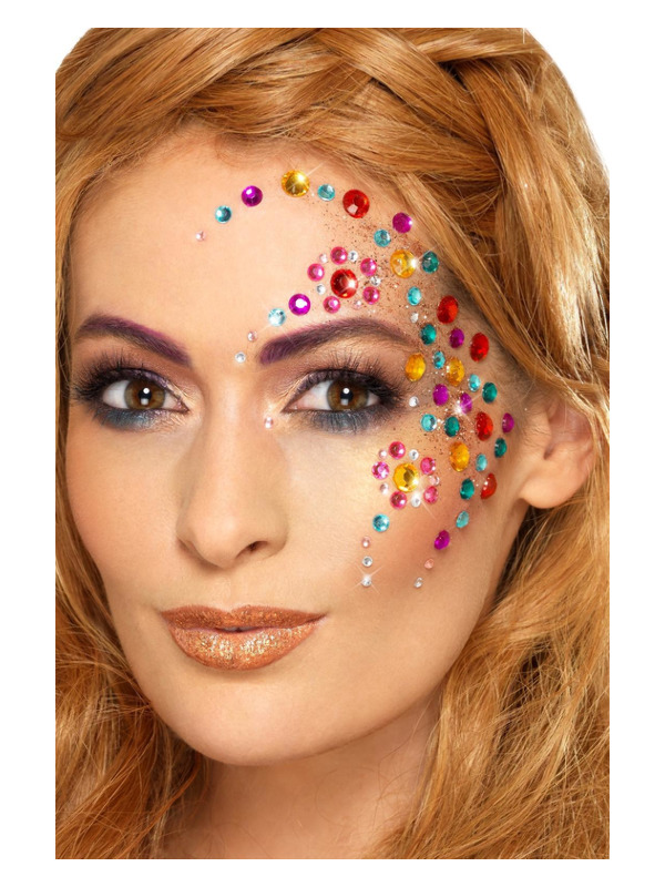 Smiffys Make-Up FX, Rainbow Jewel Face Gems, Multi-Coloured, Sheet of 100 Assorted, Self Adhesive