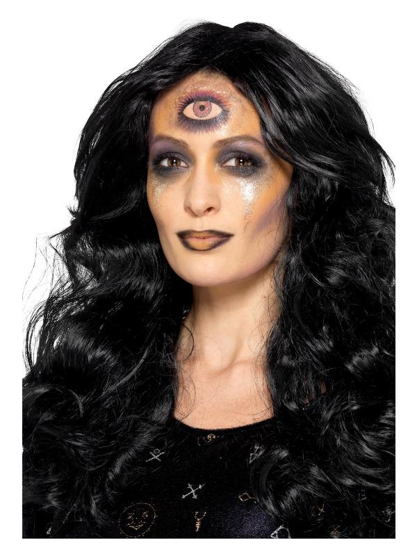Smiffys Make-Up FX, Fortune Teller Kit, Aqua, Gold, Face Paints, Glitter Pot, Transfer & Applicator