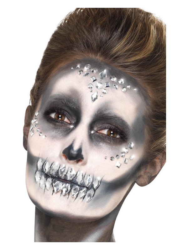 Smiffys Make-Up FX, Jewel Face Gems, Silver, Sheet of 100 Assorted, Self Adhesive