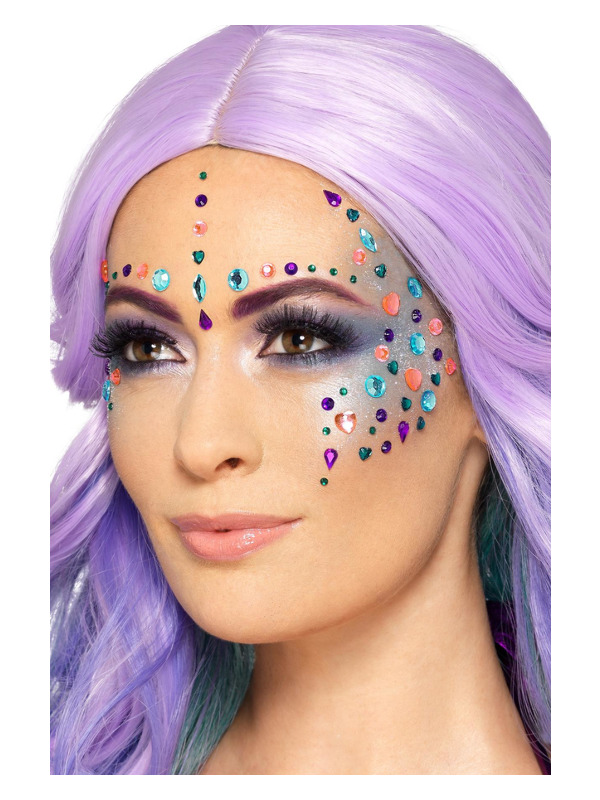 Smiffys Make-Up FX, Pastel Jewel Face Gems, Purple & Pink, Sheet of 100 Assorted, Self Adhesive