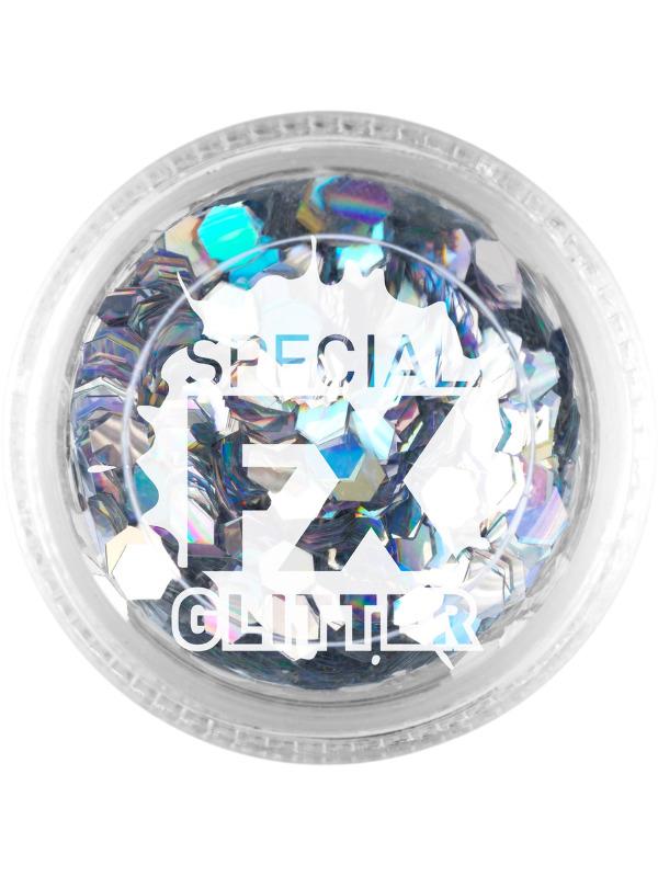 Smiffys Make-Up FX, Silver, Confetti Glitter, 2g, Loose