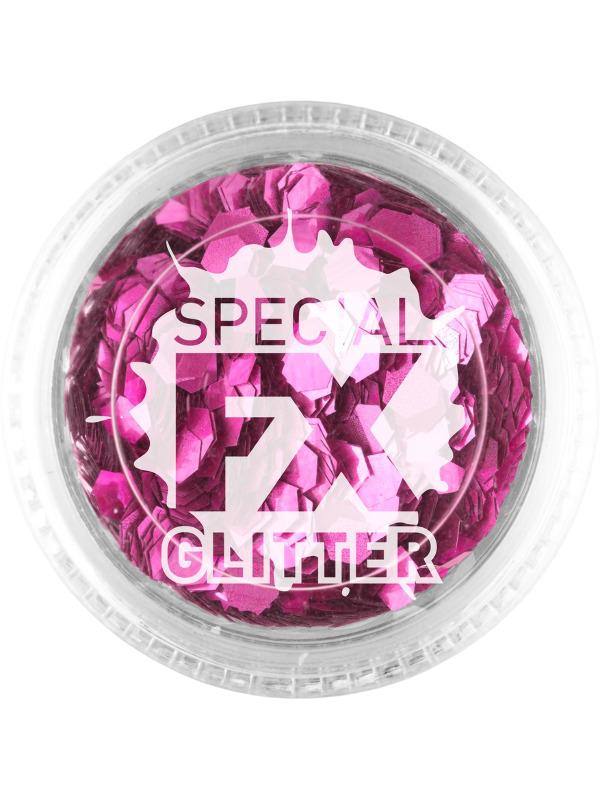 Smiffys Make-Up FX, Pink, Confetti Glitter, 2g, Loose