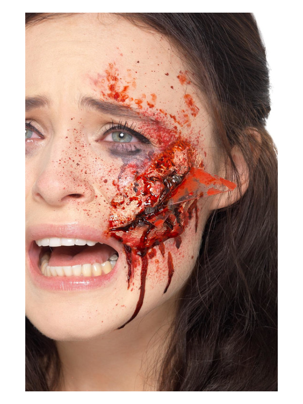 Smiffys Make-Up FX, Latex Broken Glass Wound, Red, with Adhesive
