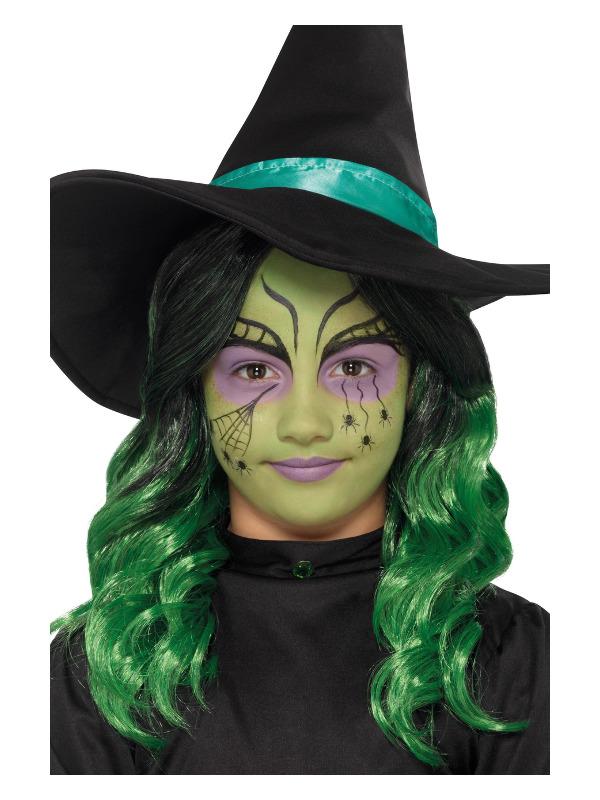 Smiffys Make-Up FX, Kids Glitter Witch Kit, Aqua, Green, Face Paints, Stickers, Crayon & Applicators