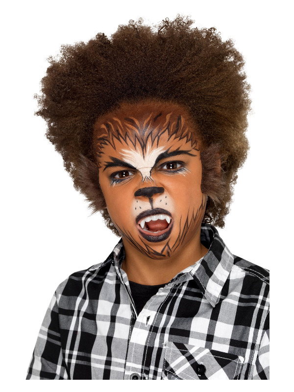 Smiffys Make-Up FX, Kids Werewolf Kit, Aqua, Brown, Face Paints, Fangs, Fur Stickers & Applicators