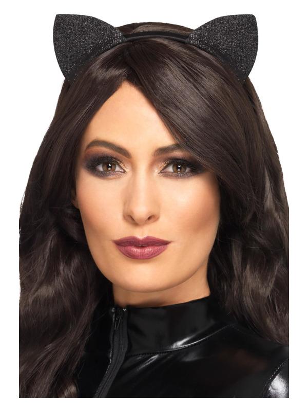 Glitter Vinyl Cat Ears, Black