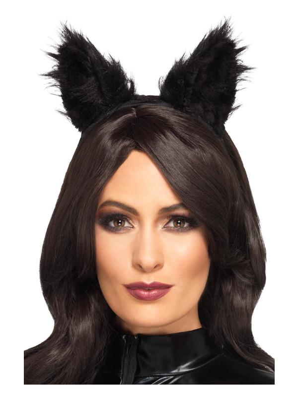 Long Pile Fur Cat Ears, Black