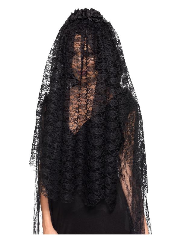 Black Widow Veil, Black, with Flowers