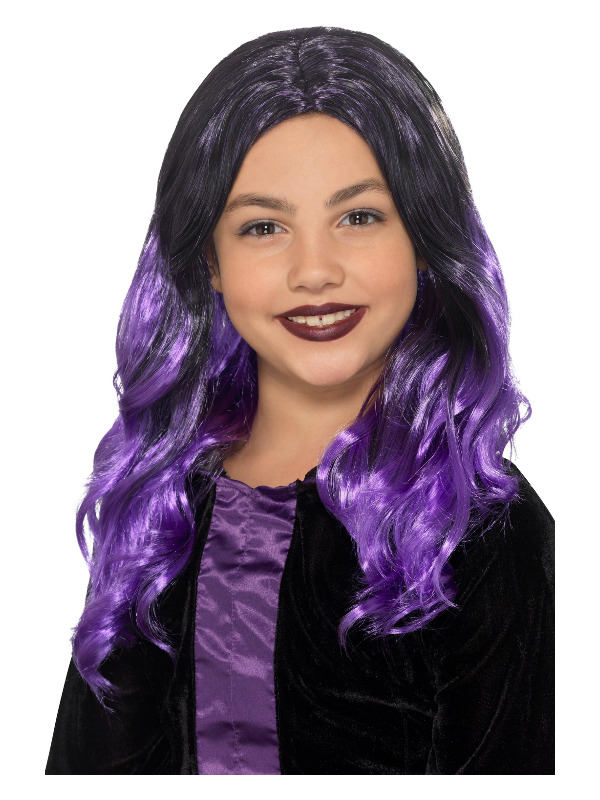 Kids Witch Wig, Black & Purple